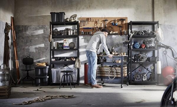 BROR Troli, hitam/papan lapis kayu pain, 85x55 cm