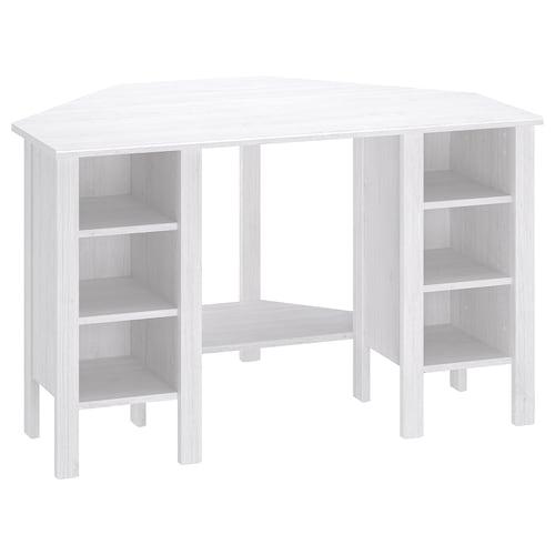 BRUSALI meja penjuru putih 120 cm 73 cm 73 cm 73 cm