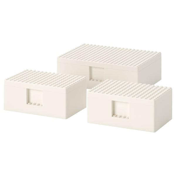 BYGGLEK Set 3 unit kotak LEGO® berpenutup, putih