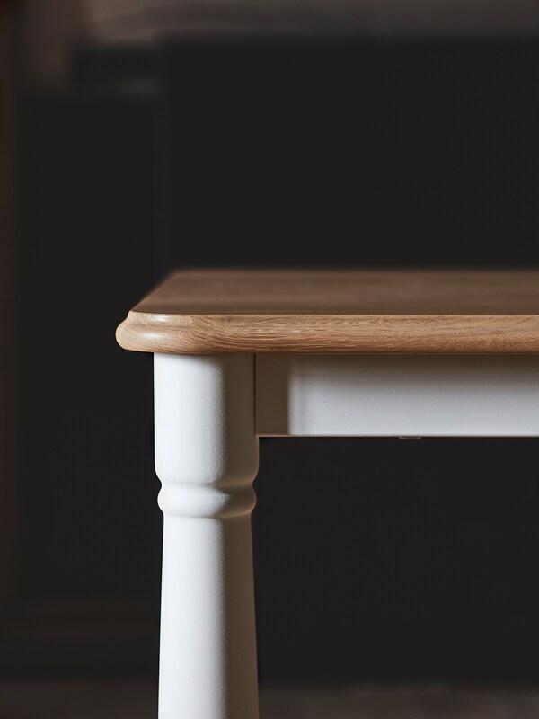 DANDERYD Meja makan, kayu oak venir/putih, 130x80 cm