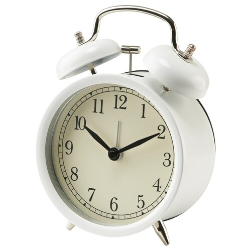 DEKAD jam penggera putih 10 cm 6 cm 14 cm