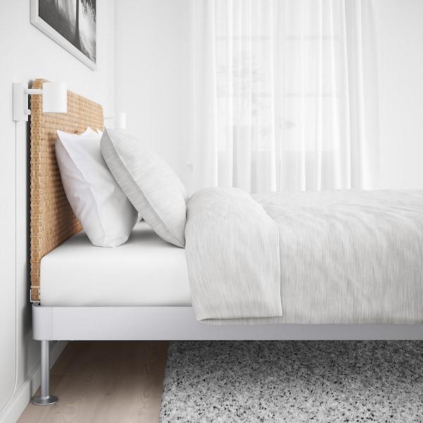 DELAKTIG Rangka katil dgn kepala katil, aluminium/rotan, 150x200 cm