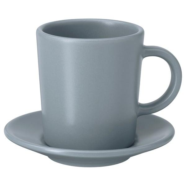 DINERA Cawan dan piring espreso, kelabu-biru, 9 cl