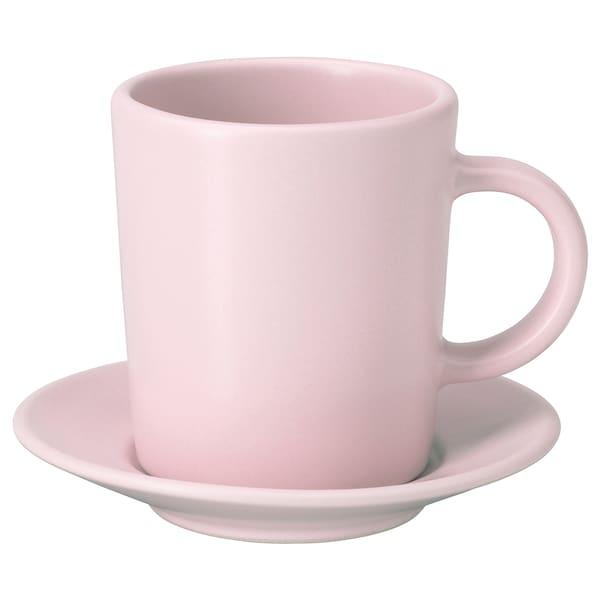 DINERA Cawan dan piring espreso, merah jambu lembut, 9 cl