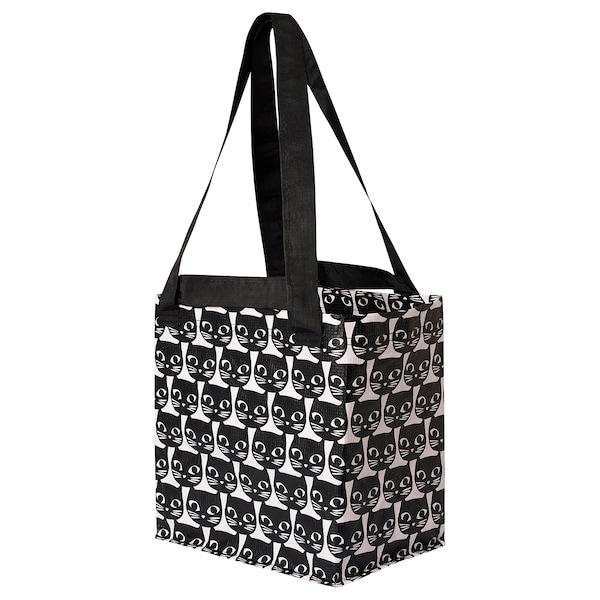 DRICKSA Beg, putih/hitam, 27x27 cm
