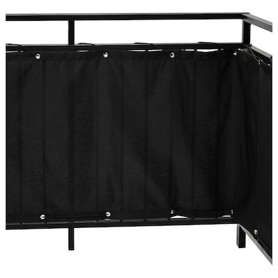 DYNING Skrin privasi balkoni, hitam, 250x80 cm