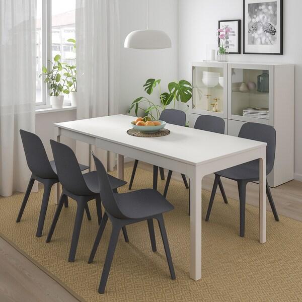 EKEDALEN / ODGER Meja dan 4 kerusi, putih/biru, 120/180 cm