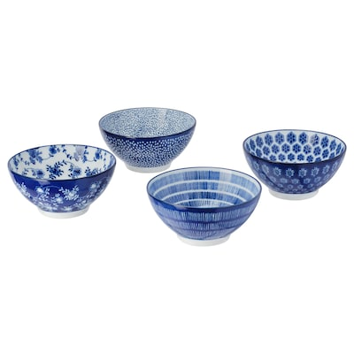 ENTUSIASM Mangkuk, bercorak/biru, 12 cm