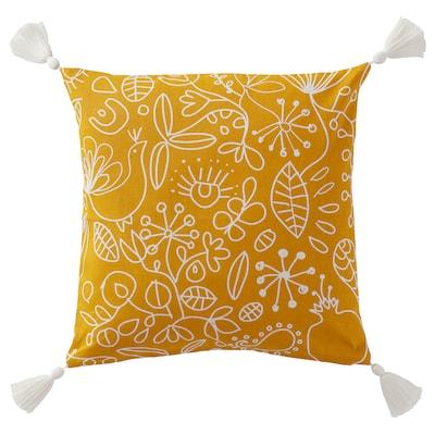 FINSLIPAD Sarung kusyen, kuning putih/bercetak, 50x50 cm