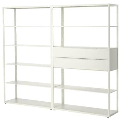 FJÄLKINGE Unit rak berlaci, putih, 236x35x193 cm