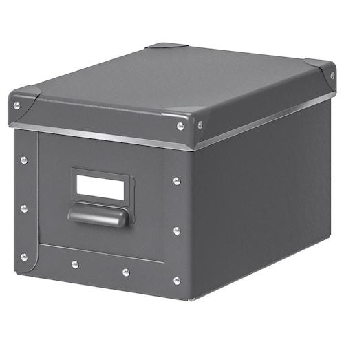 FJÄLLA kotak storan berpenutup kelabu gelap 25 cm 19 cm 26 cm 18 cm 15 cm