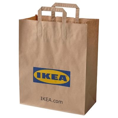 FRAKTA Beg kertas berpemegang, coklat, 16x38 cm