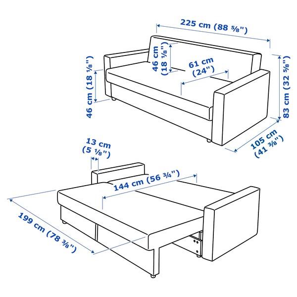 FRIHETEN Katil sofa tiga tpt duduk, Skiftebo kelabu gelap