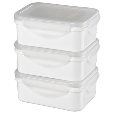 FULLASTAD Kotak makan tengahari, putih, 13x10x5 cm