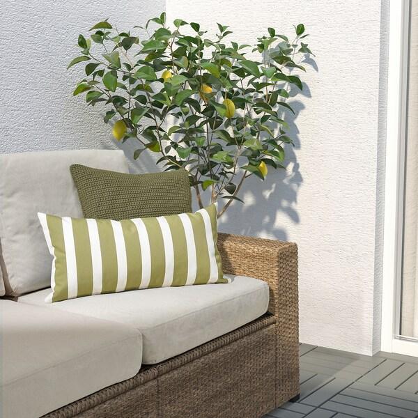 FUNKÖN Kusyen, dalam/luar, hijau kuning air/putih, 30x58 cm