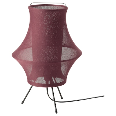 FYXNÄS Lampu meja, merah gelap, 44 cm