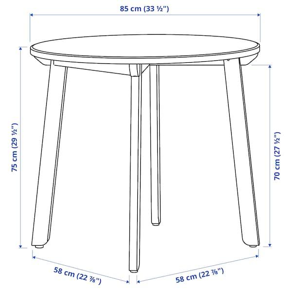 GAMLARED Meja, warna antik lembut/pewarna hitam, 85 cm