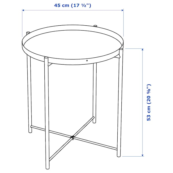 GLADOM Meja dulang, putih, 45x53 cm