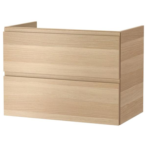 GODMORGON Kabinet bawah sink dengan 2 laci, kesan kayu oak berwarna putih, 80x47x58 cm