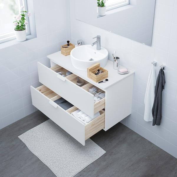 GODMORGON Kabinet bawah sink dengan 2 laci, putih, 100x47x58 cm