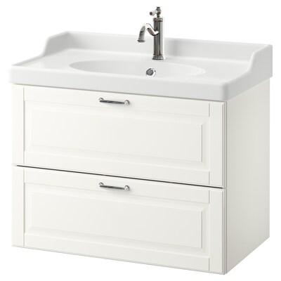 GODMORGON / RÄTTVIKEN Kabinet bawah sink dengan 2 laci