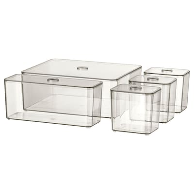 GODMORGON Set 5 buah kotak dengan penutup, kelabu asap, 24x20x10 cm