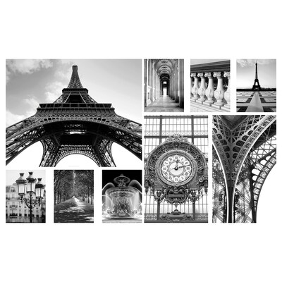 GRÖNBY Set 9 unit gambar, A day in Paris, 179x112 cm