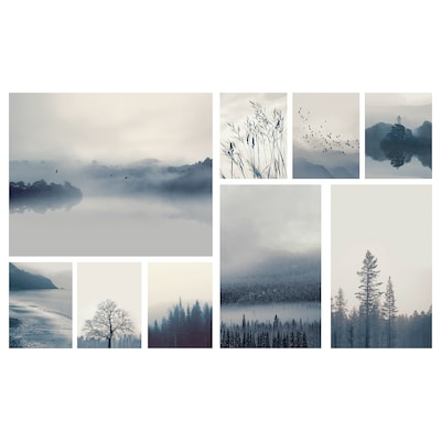GRÖNBY Set 9 unit gambar, lanskap biru, 179x112 cm