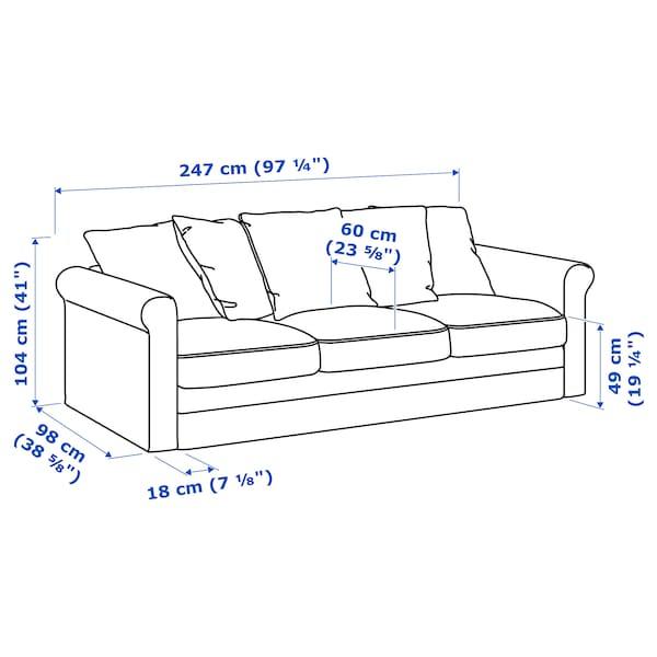 GRÖNLID sofa 3 tempat duduk Ljungen hijau muda 104 cm 247 cm 98 cm 7 cm 18 cm 68 cm 211 cm 60 cm 49 cm