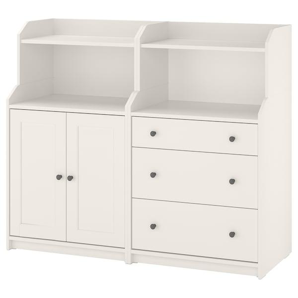 HAUGA Kombinasi storan, putih, 139x46x116 cm