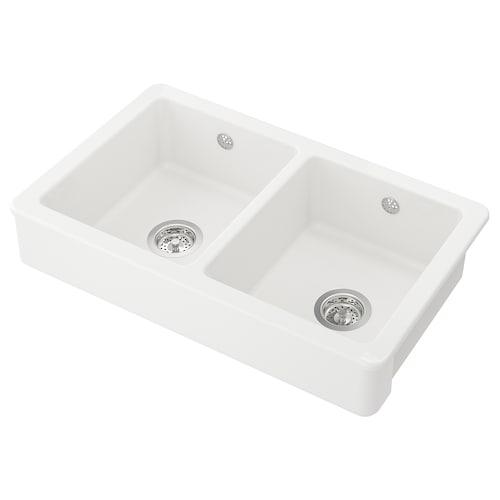 HAVSEN mangkuk sink, 2 mangkuk putih 42.4 cm 76.5 cm 19 cm 35 cm 40 cm 26.6 l 19 cm 35 cm 40 cm 26.6 l 48 cm 82 cm 82 cm 48 cm