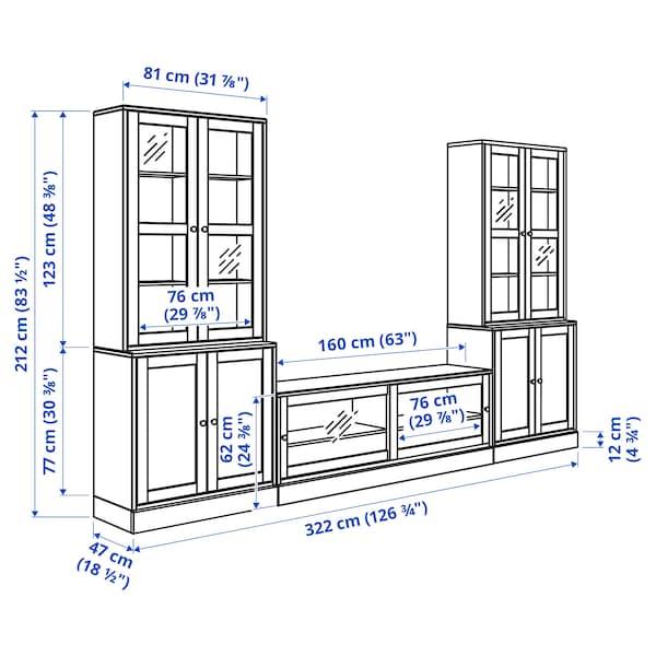 HAVSTA Kombinasi storan TV/pintu kaca, coklat gelap, 322x47x212 cm