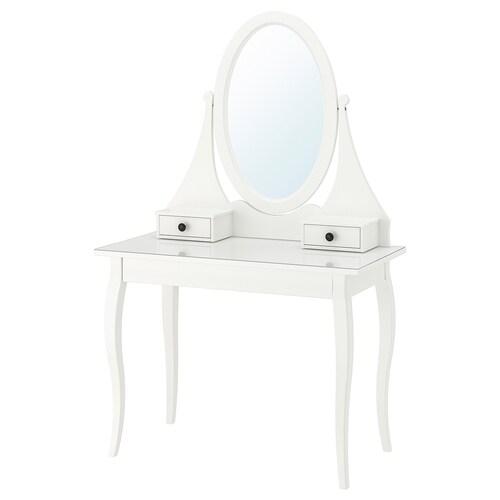 HEMNES meja solek bercermin putih 100 cm 50 cm 159 cm