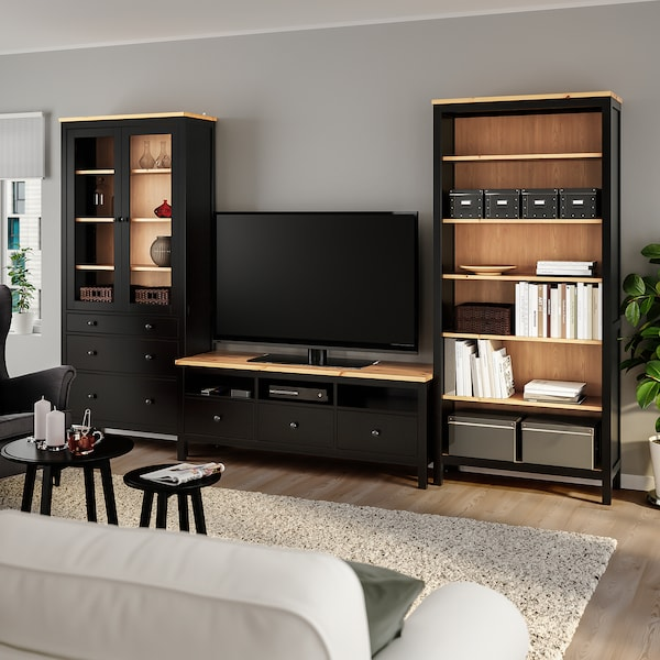 HEMNES Kombinasi storan TV, hitam coklat/coklat muda kaca jernih, 326x198 cm