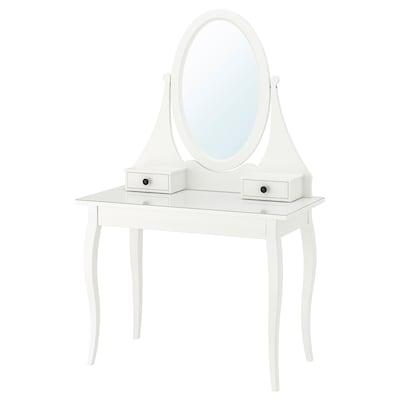 HEMNES Meja solek bercermin, putih, 100x50 cm