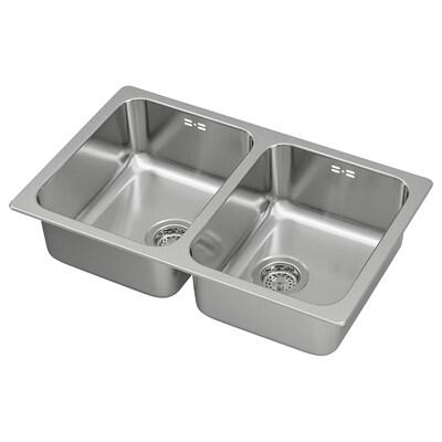 HILLESJÖN Sink sispan 2 mangkuk, keluli tahan karat, 75x46 cm