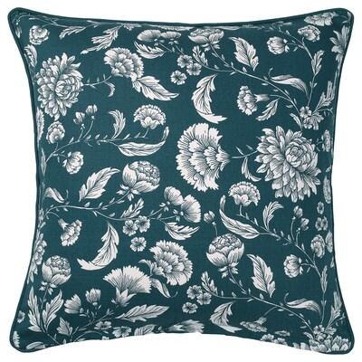 IDALINNEA Sarung kusyen, biru/putih/corak berbunga, 50x50 cm