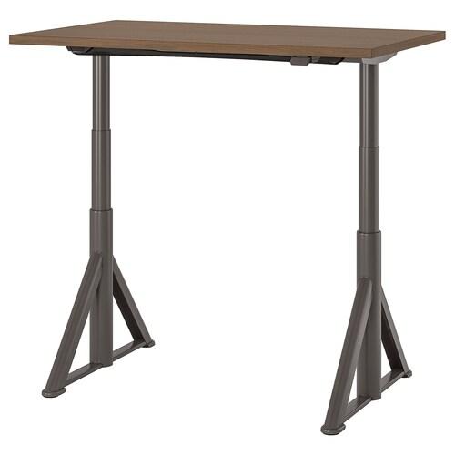 IDÅSEN meja duduk/berdiri coklat/kelabu gelap 120 cm 70 cm 63 cm 127 cm 70 kg