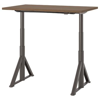 IDÅSEN Meja duduk/berdiri, coklat/kelabu gelap, 120x70 cm