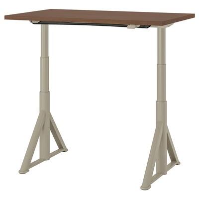 IDÅSEN Meja duduk/berdiri, coklat/kuning air, 120x70 cm