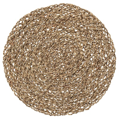 IHÅLLIG Lapik pinggan, semula jadi/rumput laut, 37 cm