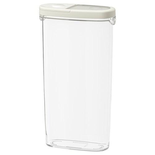 IKEA 365+ Balang makanan kering berpenutup lut sinar/putih 17 cm 8 cm 30 cm 2.3 l