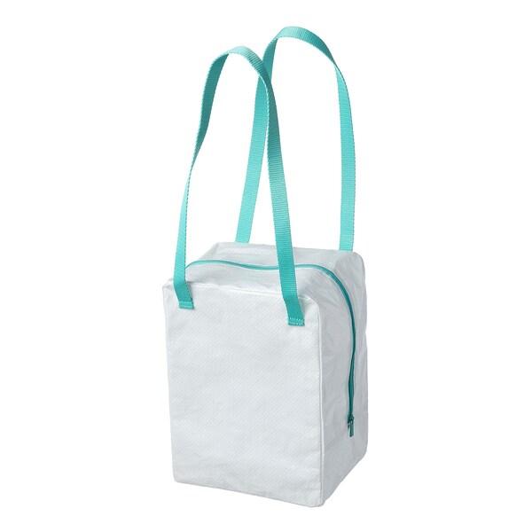 IKEA 365+ Beg bekal, putih/firus, 22x17x30 cm