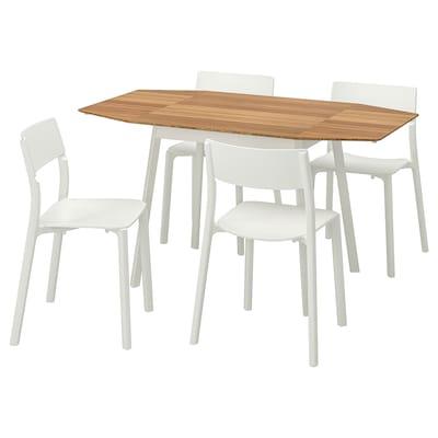 IKEA PS 2012 / JANINGE Meja dan 4 kerusi, buluh/putih, 138 cm