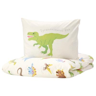 JÄTTELIK Sarung kuilt dan sarung bantal, dinosaur/putih, 150x200/50x80 cm