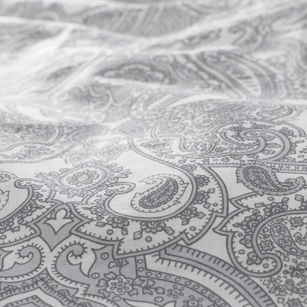 JÄTTEVALLMO sarung kuilt dan 2 sarung bantal putih/kelabu 152 inci² 2 unit 200 cm 150 cm 50 cm 80 cm