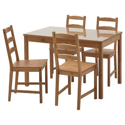JOKKMOKK / JOKKMOKK Meja dan 4 kerusi, lut sinar/berwarna antik, 118 cm