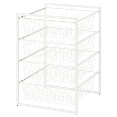JONAXEL Rangka dengan bakul dawai, putih, 50x51x70 cm