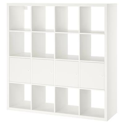 KALLAX Unit rak dgn 4 sisipan, putih, 147x147 cm
