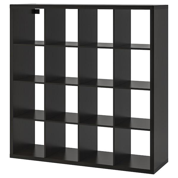KALLAX Unit rak, hitam coklat, 147x147 cm
